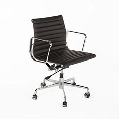 awesome Stilnovo The Mid-Century Genuine Leather Executive Office Chair, Chrome/Black