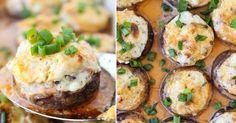 Žampiony plněné krémovým sýrem, slaninou a nivou Vegetable Recipes, Baked Potato, Potatoes, Baking, Vegetables, Ethnic Recipes, Kitchen, Food, Party