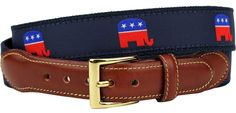 GOP Elephant Leather Tab Belt in Navy on Navy Canvas by Country Club Prep  - 1