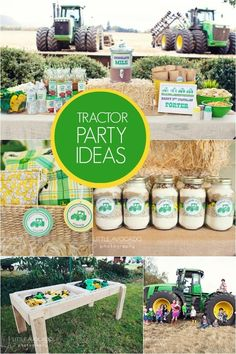 tractor themed boy birthday party ideas www.spaceshipsandlaserbeams.com  Such a cute idea for a little boys birthday!