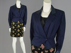 Vintage 80s Navy Blue Leather & Wool Jacket Womens by ZeusVintage