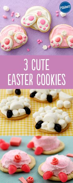 Looking for Easter cookie recipe ideas? Here's 3 of the cutest animal butt cookies! Using Pillsbury refrigerated sugar cookie dough, have the kids help decorate. These sweet desserts are super fun to make and a must-have for any Easter get-together.