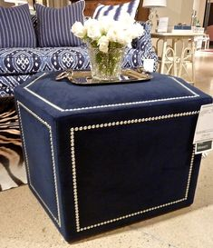 Drexel Heritage Manlio ottoman, BLUE is back! Upcycled Furniture, Home Decor Furniture, Unique Furniture, Furniture Making, Furniture Makeover, Furniture Design, Ottoman Decor, Fabric Ottoman, Living Room Accents