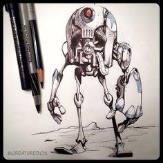 The outcasts from the Gordrillian Mech Wars were left to walk the plains of the Dark Sector. #robot #penandink #friday