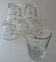 Home Style 1 / Mid-Century Modern Glassware: 6 Libbey Mediterranean Atomic Fish Low Ball Glass, Mid Century Modern Tumblers, Old Fashioned, On the Rocks. $65.00, via Etsy.