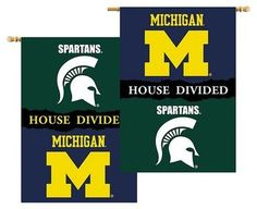 House Divided 2 Sided Banner Flag Michigan vs Michigan State