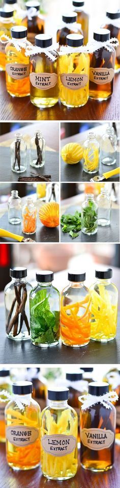 DIY Flavored Extracts - Easy instructions for Vanilla, Mint, Orange and Lemon Extracts! These make great gifts, but start them weeks ahead of time if you intend to gift them. Cooking Tips, Cooking Recipes, Healthy Recipes, Homemade Vanilla Extract, Good Food, Yummy Food, Food Gifts, Diy Gifts, Diy Food