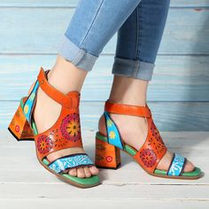 a4be80bdf874 High-quality Socofy SOCOFY Hollow Genuine Leather Love Shape Soft Hook Loop  Low Heel Sandals