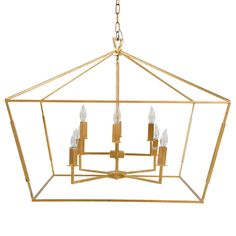 """Gabby Lighting's Adler chandelier illuminates dining rooms and living spaces with stunning versatility. This openwork fixture showcases a geometric silhouette, formed in sleekly linear metal and coated in a gold finish. The inner candelabra lights boast a two-tiered design, recalling classic style with forward thinking. 32.5""""W x 32.5""""D x 27""""H; Chain: 6'L. Metal. Vintage gold finish. Hardwired. Coordinating chain included. Accepts eight 60W candelabra bulbs (not included)."""