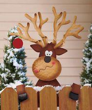 reindeer fence topper christmas holiday outdoor yard decor decoration bnib in yard decor