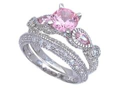 pink wedding ring sets ideas - Pink Wedding Ring Set