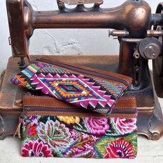 Recycled huipile (traditional Guatemalan Mayan blouse) & nubuck double zip clutch **Altiplano