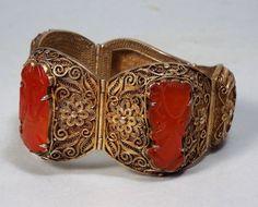 Antique Chinese Filigree Silver Gilt Carved Carnelian Bracelet