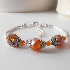 Orange Bridesmaid Bracelets Orange Crystal Beaded Jewelry Orange Bridesmaid Sets Wedding Jewellery Crystal Bracelet Bridesmaid Gift on Etsy, $18.00