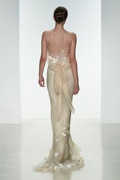 Designer - Amsale  |  Style - Lea  |  Bias cut silk chiffon  gown with low cowl back and silk flowers.