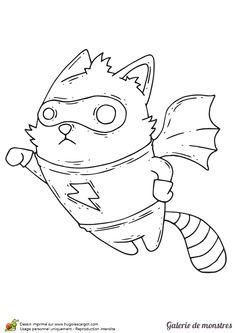 A colorier, un Super Chat volant avec des ailes de chauve-souris.