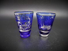 Vintage Italian Shot Glasses Pair Cobalt Blue Sterling Silver Overlay Design Crystal Glassware, Shot Glasses, Vintage Italian, Cobalt Blue, Pint Glass, Pairs, Sterling Silver, Crystals, Tableware