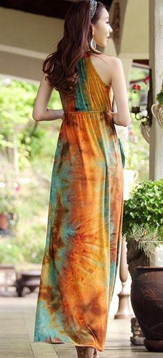 Multicolor Floral Round Neck Ankle Straight Cotton Dresse - Maxi Dresses - Dresses
