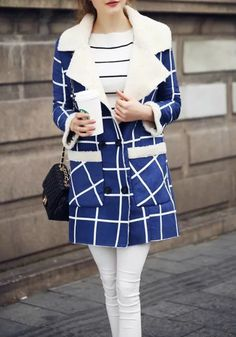 Blue-White Plaid Pockets Fur Double Breasted Turndown Collar Casual Wool Coat