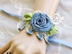 China Blue Victorian Lace Cuff Bracelet, Lace Wrist Cuff, Victorian Cuff, Victorian Jewelry
