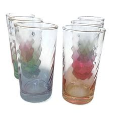 Vintage Ombre Drinking Glasses-Swirl by MerrilyVerilyVintage