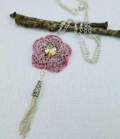 Long crochet pendant