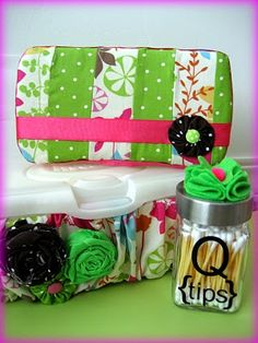 Q tip jar, band for wipes and a cover for small wipes case.