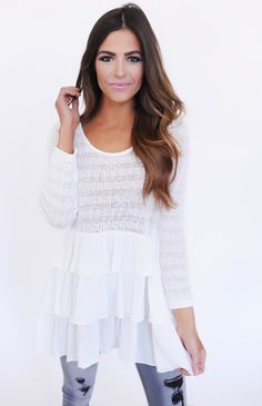 Ivory Knit/Layered Hem Top - Dottie Couture Boutique