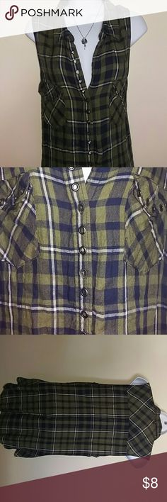 "Rock and Republic Plaid Button Up Tank Sz Large Here is a very soft and light tank top made of rayon,  green and blue plaid by Rock and Republic. It's been gently used by me and never been dried in a dryer. Small high-low theme, the front length is 28"" and the back is 31"". Armholes are large in length, 9"". Bust is 19.5"" and the widest point of the top is 20"". Features metal sheen buttons and rivets along front pocket tops and the top side of the button line. extra button still attached on…"