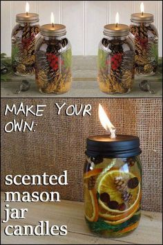 Fill your home with wonderful aromas by making these DIY scented mason jar candl. - Fill your home with wonderful aromas by making these DIY scented mason jar candl. Fill your home with wonderful aromas by making these DIY scented m. Pot Mason Diy, Mason Jar Projects, Navidad Diy, Ideias Diy, Mason Jar Candles, Diy Candles Scented, Diy Candle Lamp, Gifts In Mason Jars, Homemade Candles