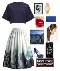"""""""New York"""" by cintia-ct ❤ liked on Polyvore featuring Chicwish, Jessica Simpson, Tasha, Charlotte Tilbury, HUGO, Americanflat, Casetify, Kate Spade and Barneys New York"""