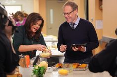 Alton helping Rachael with her Double Stuffed Butternut Squash #ThanksgivingLive
