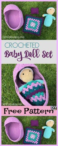 diy4ever- Crocheted Baby Doll Set Free Pattern Video #freepattern