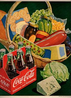 vintage picnic basket 1951 advertisement coca cola
