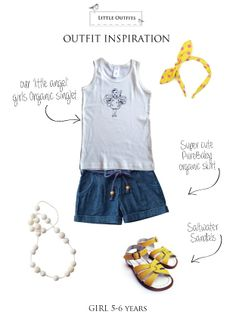 """Little Outfits Girls Organic """"Little Angel"""" Print Singlet - styled with pops of yellow - perfect for summer"""