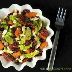 Roasted Sweet Potato and Cranberry Salad w/ Feta, Sea-Salted-Roasted Pecans & Honey-Cumin Vinaigrette