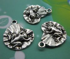 Free ship 20pcs retro style Frogs on the lotus leaf alloy charms pendant 21x17mm