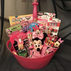 One made to order Minnie Mouse Gift Basket. A Fun unique gift idea for that Minne Mouse fan. The basket contains ONLY Minnie Mouse Items Please me Homemade Gift Baskets, Candy Gift Baskets, Girl Gift Baskets, Themed Gift Baskets, Basket Gift, Valentine Gifts For Girls, Valentine Gift Baskets, Christmas Gift Baskets, Baby Easter Basket
