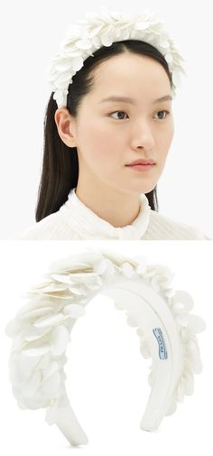Prada's white headband is shaped to exaggerated proportions. It's expertly crafted in Italy from supple satin and carefully accented with a plethora of high-shine sequins, heightening the lustrous appeal. Padded, or Embellished Headbands add interest to any outfit either casual or formal. Pair one with a T-shirt and jeans to spice things up on the weekend, wear to work to show your fashion sense, or wear one with a dress for a regal look at weddings and formal events. Gifts for fashionista