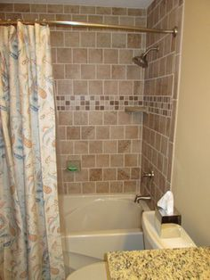 Dress Up White Subway Tiles With A Narrow Band Of Mosaic Tiles - Bone colored subway tile