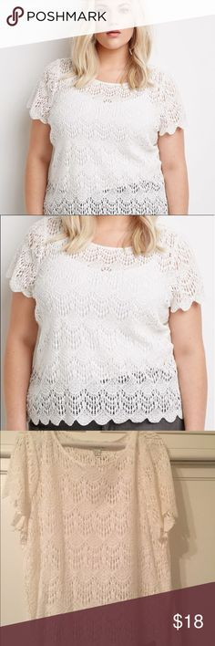 F21 plus scalloped crochet top NWOT, only tried on. First 2 pictures from Google, for reference. Forever 21 Tops Blouses