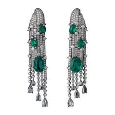 Cartier High Jewelry Earrings - white gold, six oval-shaped emeralds from totaling 12.80 carats, pear-shaped rose-cut diamonds, brilliant-cut diamonds.