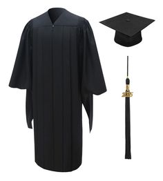 Deluxe Master Graduation Cap, Gown & Tassel • Premium Matte dull finished fabric in black  • Top of the line tailored construction  • Features deluxe detailed fluting along shoulders and yoke  • Crease resistant fabric so you always look your best  • Hidden zipper closure with hook eye clasp  • Includes high quality graduation tassel and year charm with your choice of color  • Includes matching black graduation cap (one size fits all)