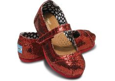 Red Glitter Tiny TOMS Mary Janes | Are you kidding me? tiny toms + mary jane + ruby red slippers = heaven on a tiny chubby foot.