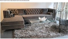 grey velvet sectional with black piping - Google Search