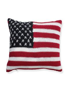 Red, white and blue!  Decorate your room with our stars and stripes crochet pillows, both soft and durable.