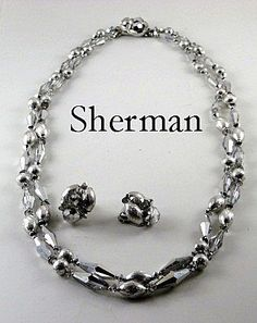 Fabulous Vintage Sherman Crystal Vitrail Necklace and Earrings - available in our shop on Ruby Lane