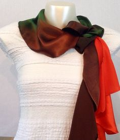 Stunning Hand Made 100% Pure Silk Satin Twirl Scarf in Autumn Palette. See more at www.truecolourfashion.co.uk