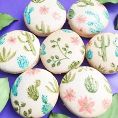 "Artfetti_1 on Instagram: ""Some hand painted macarons inspired by an illustration from the amazing Sonia Cavallini. Check her work out on Instagram! soniacavalliniillustration #macarons #soniacavalliniinspired #handpainted #artfetti #futurecakeshop #artfetticakes #art #macaronart #cactus"""