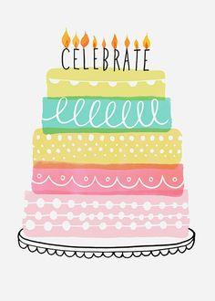 Margaret Berg Art: Sweetie Stripes Celebrate Cake